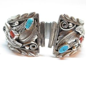 Accessories - Turquoise Coral Eagle watch band native American